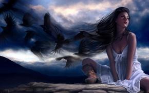 Картинка небо, синий, черный, сапоги, art, women, ravens
