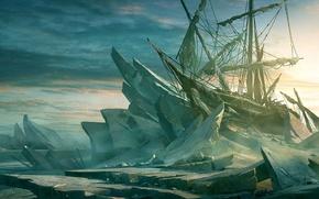 Обои льды, корабль, парусник