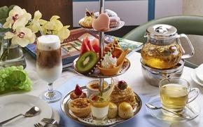 Обои арбуз, ассорти, киви, пирожные, чай, десерты, коктейль, орхидея