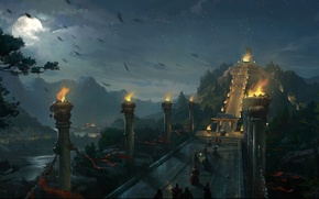Картинка ночь, мост, река, люди, луна, арт, лестница, факелы