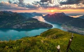 Обои закат, горы, озеро, Швейцария, Альпы, панорама, Switzerland, Alps, Lake Lucerne, Люцернское озеро, Фирвальдштетское озеро