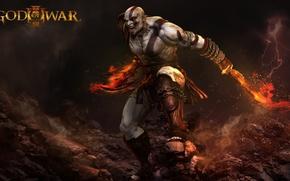 Картинка fire, flame, sword, rock, demigod, Kratos, God of War, general, man, ken, captain, hero, spartan, ...