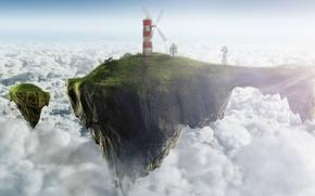 Картинка облака, маяк, остров, мельница, летающий, ветряная