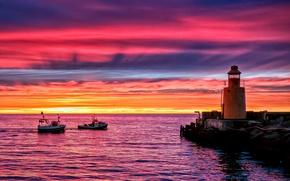 Картинка море, закат, океан, берег, вечер, Маяк, причал, пирс, сумерки, катера