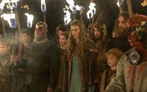 Картинка факелы, процессия, Vikings, Викинги, Travis Fimmel, Ragnar Lothbrok, Alyssa Sutherland, Aslaug