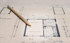 Обои чертеж, карандаш, план