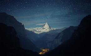 Картинка горы, ночь, долина, городок, Switzerland, Alps, Matterhorn, the Lauterbrunnen valley