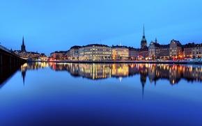 Картинка небо, закат, мост, огни, отражение, река, зеркало, Стокгольм, Швеция, Stadsholmen