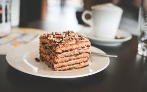 Обои торт, пирожное, тарелка, десерт