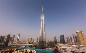 Обои небо, вода, закат, дома, небоскребы, башни, Dubai, дубай, Бурдж-Халифа
