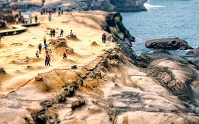 Картинка люди, tilt shift, Taiwan, Yehliu Geopark