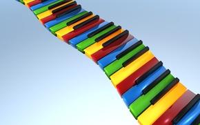 Обои цвет, клавиши, пианино