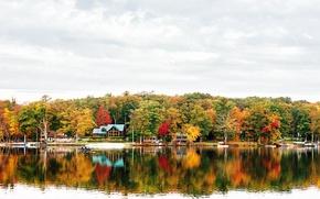 Картинка осень, горы, природа, озеро, берег, Нью-Йорк, лодки, домики, New York, NYC, New York City, Teedyuskung, …