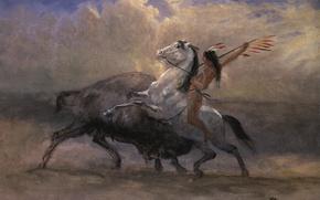 Картинка картина, охота, индеец, жанровая, Альберт Бирштадт, Последний Бизон