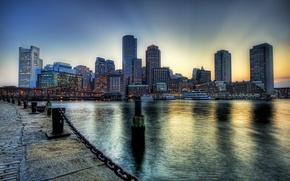Обои Бостон, набережная, река
