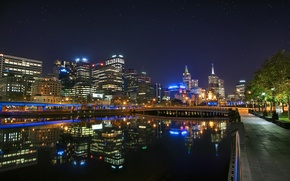 Обои ночь, Австралия, night, Melbourne, Downtown, Australia, Мельбурн