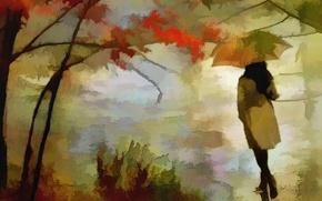Картинка осень, девушка, текстура