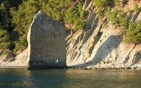 Картинка море, горы, скалы, парус