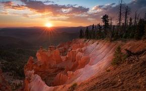Картинка солнце, лучи, закат, каньон, США