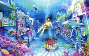 Картинка вода, рыбки, пузыри, книги, сон, кораллы, жираф, девочка, карусель, art, воображение, шкафы, матроска, fuzichoco (fujiwara)