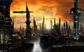 Картинка облака, город, огни, будущее, здания, дороги, корабли, башни, небоскрёбы, sci-fi, planet, ships, cityscape, towers, трассы, …