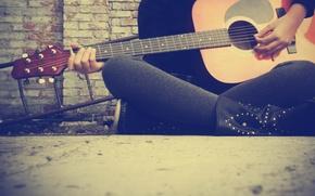 Обои гитара, струны, обои, музыка
