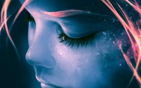 Картинка небо, девушка, звезды, лицо, ресницы, Космос, галактика, девочка, черты лица