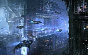 Картинка Вода, Океан, Арт, Sci-Fi, Подлодки, Подводный город, Субмарины