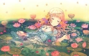 Картинка вода, сон, девочка, лотосы, звездочки, длинные волосы, закрытые глаза