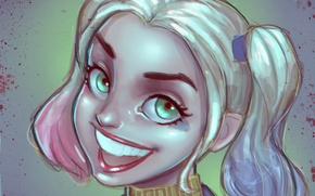 Картинка глаза, девушка, улыбка, DC Comics, Harley Quinn, suicide squad