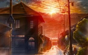 Картинка закат, улица, столбы, провода, забор, дома, Город, мопед, переход