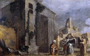 Обои Leonaert Bramer, Авраам и Три Ангела, мифология, картина, религия