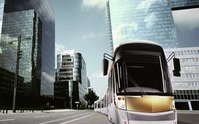 Обои здания, трамвай