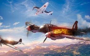Картинка небо, облака, самолет, война, истребитель, як-3, war thunder, Ме-410