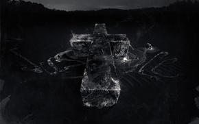 Обои Крест, Разводы, Серый Фон