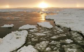 Обои вода, солнце, Лед