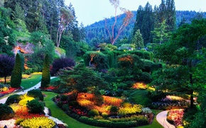 Картинка деревья, цветы, парк, сад, клумба