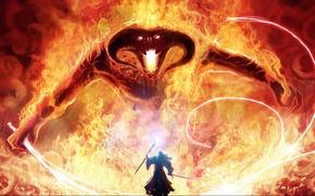 Обои магия, монстр, меч, властелин колец, арт, маг, посох, Balrog, гендальф, кнут, the lord of the ...