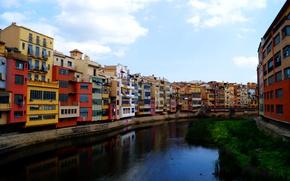 Картинка река, дома, Испания, Каталония, Жирона