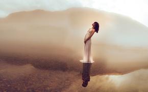 Картинка озеро, вода, отражение, настроение, девушка, платье