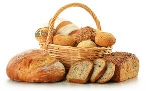 Картинка корзина, мак, хлеб, булочки, ломти
