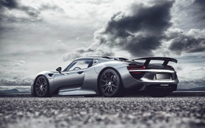 Картинка Spyder, 918, порше, Porsche, rear, серебристый, Fernandez World Photography, silvery