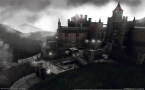 Картинка небо, облака, замок, вечер, башни, Interceptor, game wallpapers, Rise of the Triad