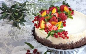 Картинка ягоды, клубника, торт, смородина