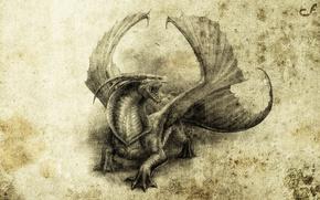 Обои дракон, арт, абстракция