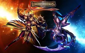 Картинка THQ, League of Legends, лол, Leona, LoL, Diana, Лига Легенд, Leona - The Radiant Dawn, …
