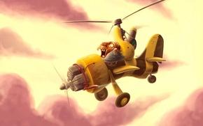 Картинка Рисунок, вертолет, дед