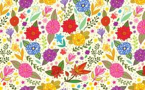 Картинка листья, цветы, краски