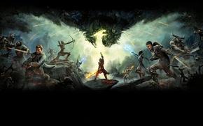 Картинка Огонь, Доспехи, Меч, Магия, Воин, Оружие, BioWare, Electronic Arts, Dragon Age: Inquisition