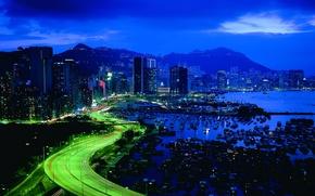 Картинка ночь, город, огни, небоскребы, Гонг Конг